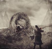 Fenrir and Tyr by Silvana-Massa-Art