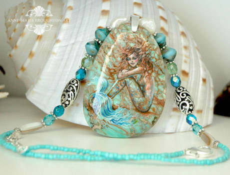 Green Lagoon Handpainted Mermaid Pendant Necklace by Mocten