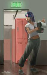 Human High School Ponies: Asst Manager Twilight by ponyrake