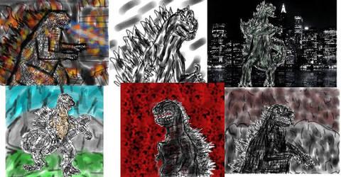 Godzilla art collage by Cupercrusader