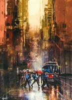 Cityscape gold by DivvuartRome