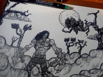 Death inked illustration by CosminGX