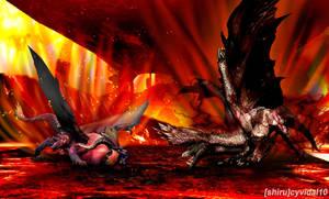 Monster Hunter - Teostra vs Alatreon by cyevidal10
