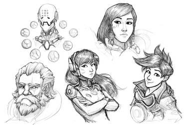 Overwatch Sketches by TresenellaArt