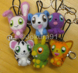 Needle Felted Animal-key chains by Jokura91