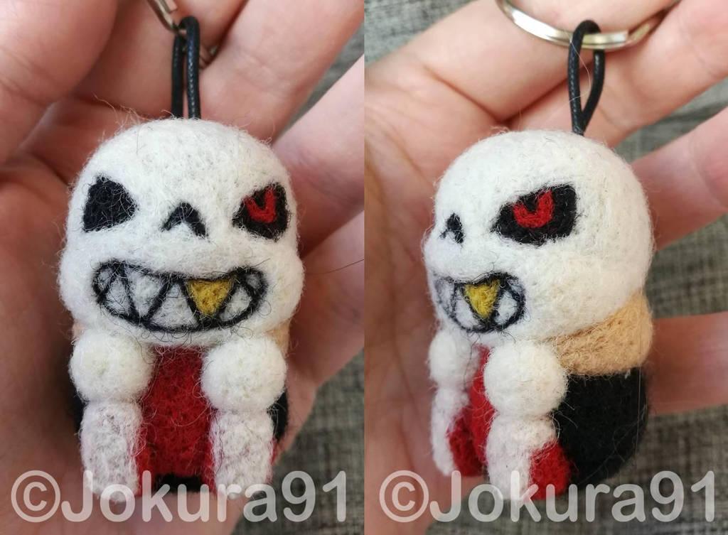 Underfell Sans - Needle felted keychain by Jokura91