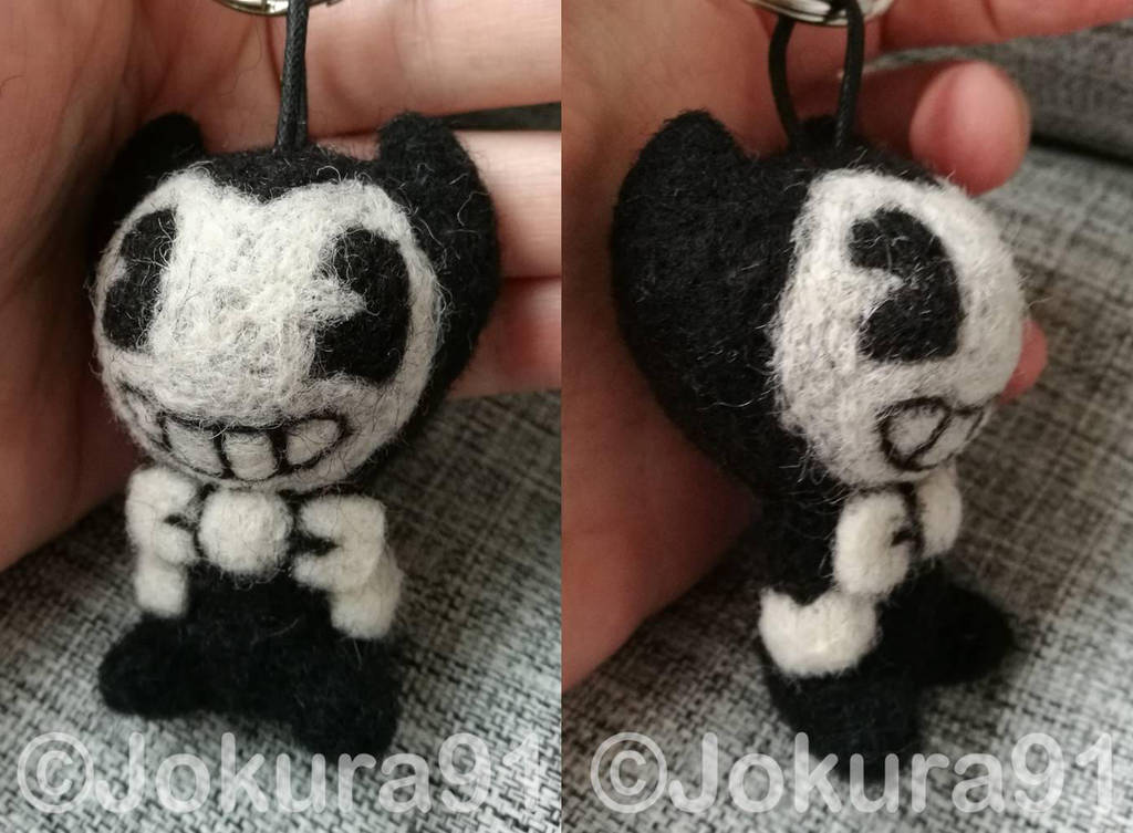 Bendy the Devil - Needle felted keychain by Jokura91
