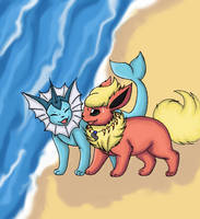 Flareon and Vaporeon by Morwint