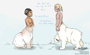 Mor'rak and Laaq's first meeting by NukaPooka