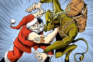 the Santa vs the Krampus by thehorribleman