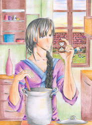 cooking dinner by Saenda