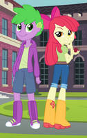 Applebloom and Spike in boots by 3D4D