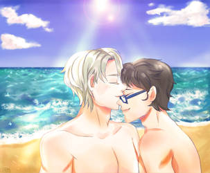 Victor and Yuuri on the beach by Eclipse-Cat