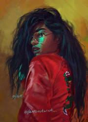 Girl in Red Jacket by abeermalik