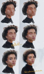 STEPS of painting girl with afro hair by abeermalik