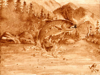 Trout Jumping Coffee Painting by LucidArtist83