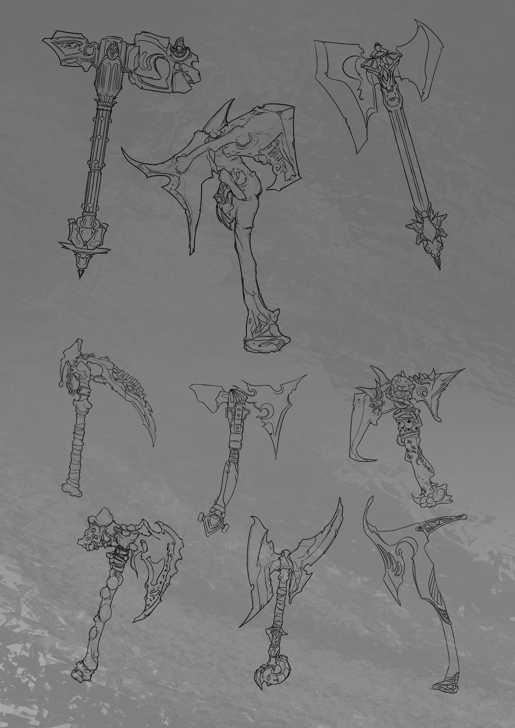 Weapon Concepts Lineart by N-Deed