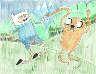 Finn and Jake! Art Trade for TheOliveThief14 by cddmanful