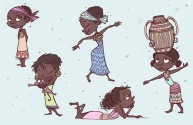 African Village- Characters by brittniebruner