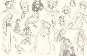 The Six Swans - Sketches by tinkerbelcky