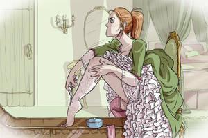 Sketch: Zoe Shaving by tinkerbelcky