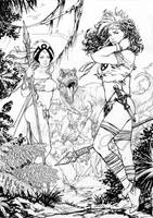 Storm and Rogue Savage Land by davidyardin