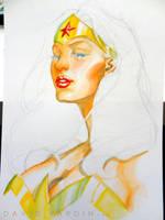 Wonder Woman Watercolour Step 4 by davidyardin