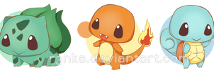 Kanto starters by r3nisa