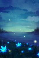 there are blue flowers on the shore by hyokka