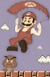 Mario parachute fanart by Kuvshinov-Ilya