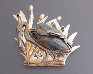 Blue Heron Brooch by WearableByDesign