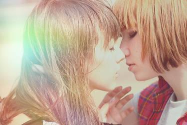Girls kiss by Emmatyan