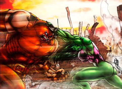 She Hulk Vs Juggernaut Colors By Fantasticmystery On Deviantart