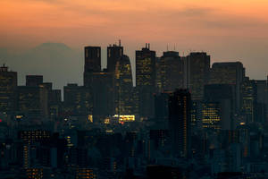 Japan metropolis orange hour by stephane-bdc