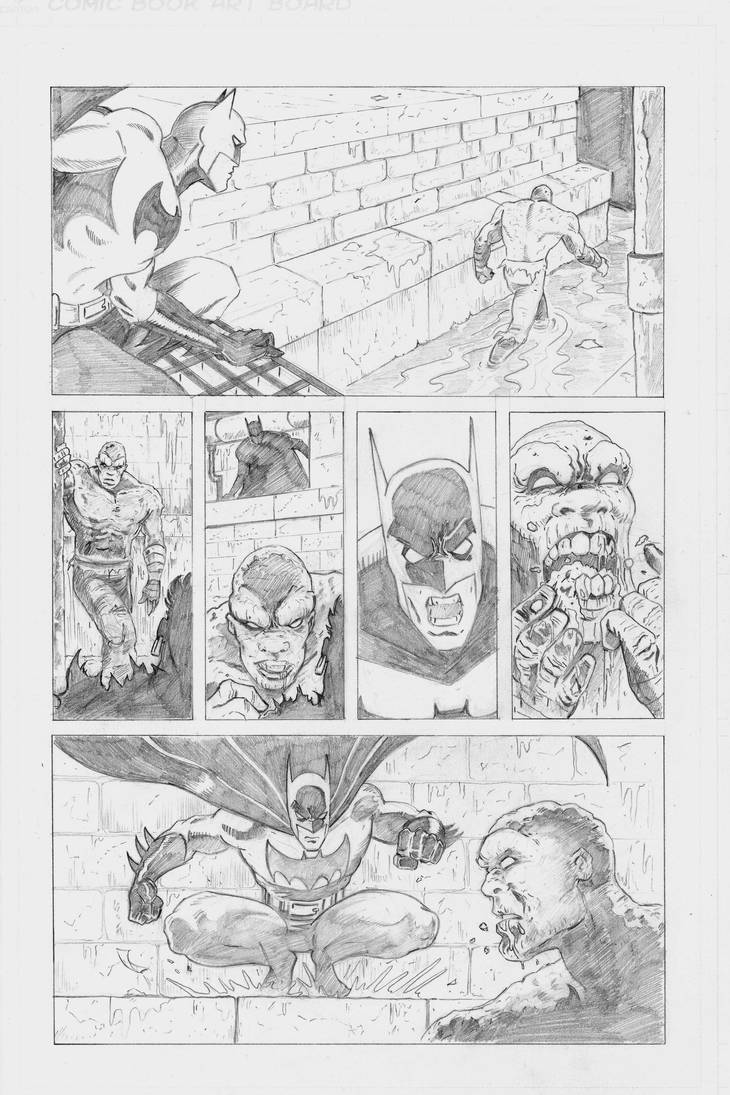 Batman Vs Killer croc sample page pencils Pg2 by Joss-L-Jenkins