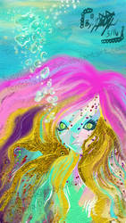 Mermaid With The Fish Earrings  by TYEplusPIXIE-DYE