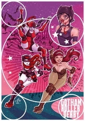 Gotham roller-derby Girls by Gengiskahn