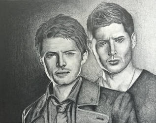 Dean Winchester and Castiel by ta11y16lupus