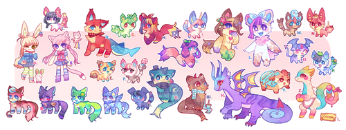 PRICES REDUCED (2 LEFT) assorted floofs by scarletscreations