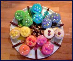 Rainbow Cupcakes by ziboulette