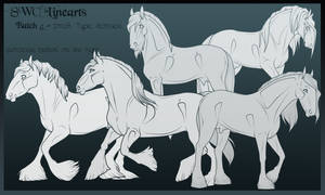 Lineart Batch 5 - Draft Type Horses by x-SWC-x