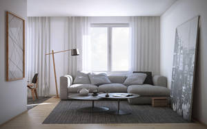 Wood and White Living Room by gil251998