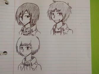 (Aot) The amazing trio by KuroWasNotHere