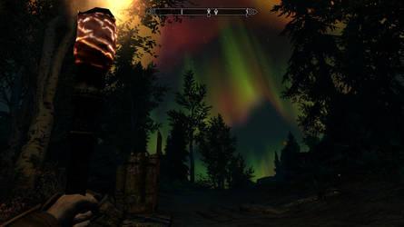Skyrim Screenshot - Falkreath Aurora by RJDETONADOR97