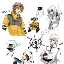 Human WALL-E Characters by SchifferCake