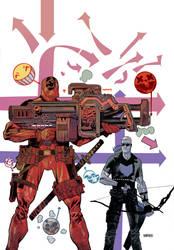 Deadpool vs Hawkeye by JHarren