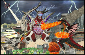Tairagon and Balkzardan vs. Bagan (color verison) by WoodZilla200