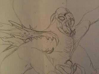 Adult Clover vs. Ghidorah (Anime) sketch by WoodZilla200
