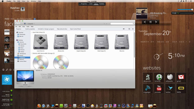 Mac + rainmeter for Windows 7 by imcoolkk