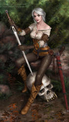 Ciri With Whetstone (available on Gumroad) by xenbis